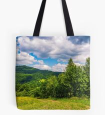 country road through rural fields in mountains summer landscape  Tote Bag