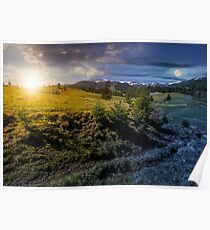 snowy tops of carpathians in springtime Poster