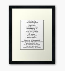 Bible, Genesis 1:1, God, Biblical, Book of Genesis, In the Beginning Framed Print