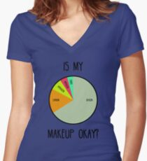 Is My Makeup Okay? Women's Fitted V-Neck T-Shirt