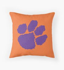 Purple and Orange Tiger Paw Throw Pillow