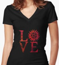 SPN Love Women's Fitted V-Neck T-Shirt