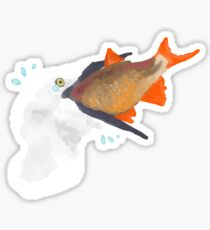 Bird Eating Fish Sticker