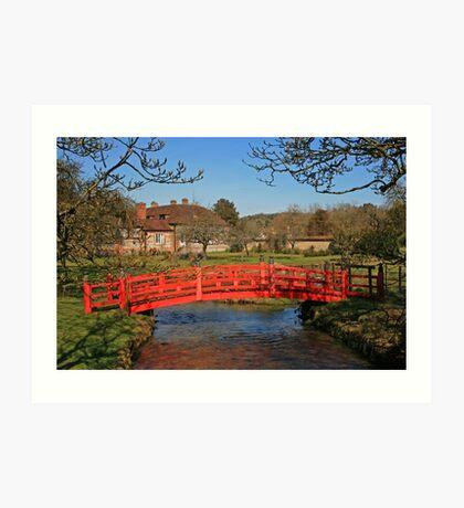 Red Bridge, Heale Gardens Art Print