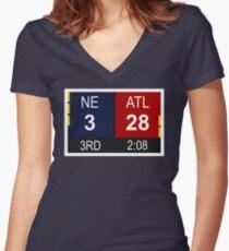 NE 3 vs ATL 28 Champions Comeback Women's Fitted V-Neck T-Shirt