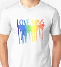 Love Wins Watercolor Rainbow Paint T-Shirt