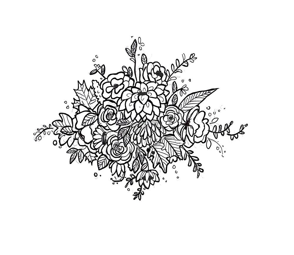 Arreglo Floral Blanco Y Negro De Artbyelliee Redbubble