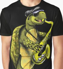 Turtle Playing The Saxophone Graphic T-Shirt