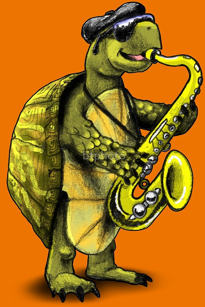 Turtle Playing The Saxophone\
