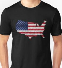 American Flag and Map Burlap Linen Rustic Jute T-Shirt