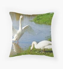 A Rampant Mute Swan Throw Pillow