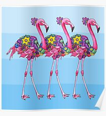 A Small Flock of Flamingos Poster