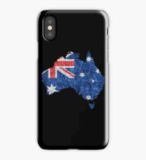 Australia Flag and Map Burlap Linen Rustic Jute iPhone Case/Skin