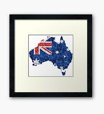 Australia Flag and Map Burlap Linen Rustic Jute Framed Print