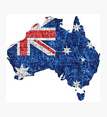 Australia Flag and Map Burlap Linen Rustic Jute Photographic Print