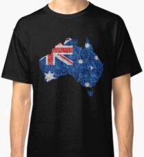 Australia Flag and Map Burlap Linen Rustic Jute Classic T-Shirt