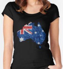 Australia Flag and Map Burlap Linen Rustic Jute Women's Fitted Scoop T-Shirt