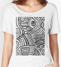 Black and off white Women's Relaxed Fit T-Shirt