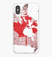 Canada Flag and Map Burlap Linen Rustic Jute iPhone Case/Skin