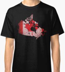 Canada Flag and Map Burlap Linen Rustic Jute Classic T-Shirt