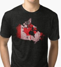 Canada Flag and Map Burlap Linen Rustic Jute Tri-blend T-Shirt
