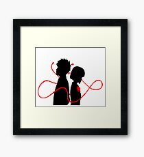 Taki and Mitsuha - Red String Framed Print