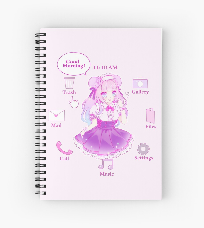 waifu desktop spiral notebooks by cherrycheezy redbubble