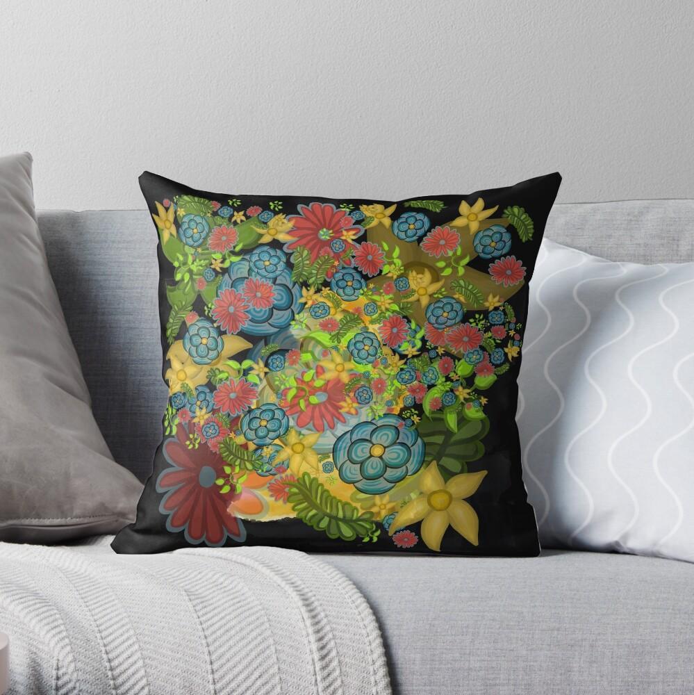 Golden Flowering Earth Throw Pillow