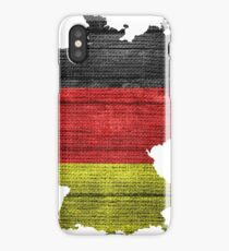 Germany Flag and Map Burlap Linen Rustic Jute iPhone Case/Skin