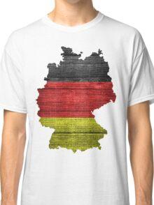 Germany Flag and Map Burlap Linen Rustic Jute Classic T-Shirt