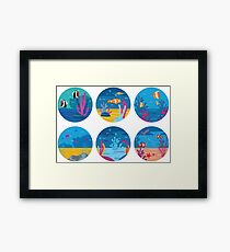 Underwater Background Icons Framed Print