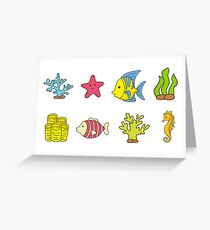Cartoon Seabed Icons Greeting Card