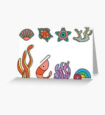 Coral Reef Icons 1 Greeting Card