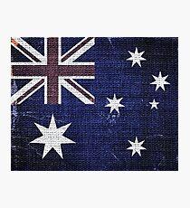 Vintage Australia Flag Burlap Linen Rustic Jute Photographic Print