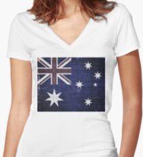 Vintage Australia Flag Burlap Linen Rustic Jute Women's Fitted V-Neck T-Shirt
