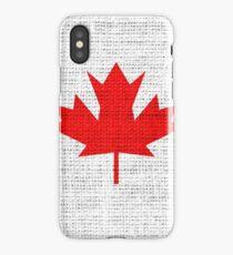 Canada Flag Burlap Linen Rustic Jute iPhone Case/Skin