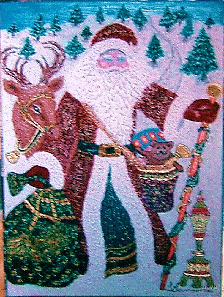 Santa Claus with gifts by wave