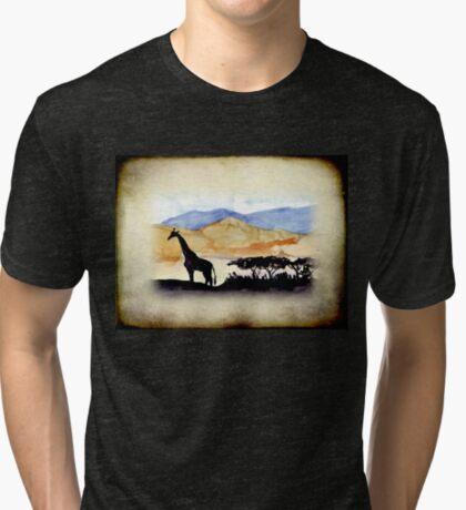 Lodge décor - Silhouettes against an African sky Tri-blend T-Shirt