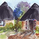 Lodge décor - Ndebele huts by Maree Clarkson