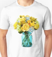 Yellow Roses Mason Jar Floral Unisex T-Shirt