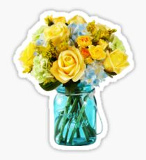 Yellow Roses Mason Jar Floral Sticker