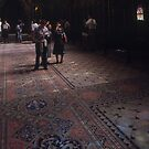 Tourists in nave of Upper Chapel St Chapelle Built by St Louis 1243-8 Paris 19840818 0022 by Fred Mitchell