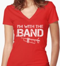 I'm With The Band - Trumpet (White Lettering) Women's Fitted V-Neck T-Shirt