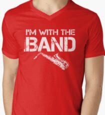 I'm With The Band - Saxophone (White Lettering) Men's V-Neck T-Shirt