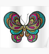Ornate doodle hand drawn butterfly Poster