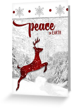 Peace On Earth Reindeer in Red by Doreen Erhardt
