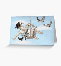 Girl in a Birdcage Greeting Card
