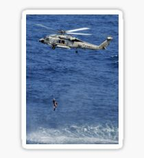 Search and rescue swimmers being hoisted into a helicopter. Sticker