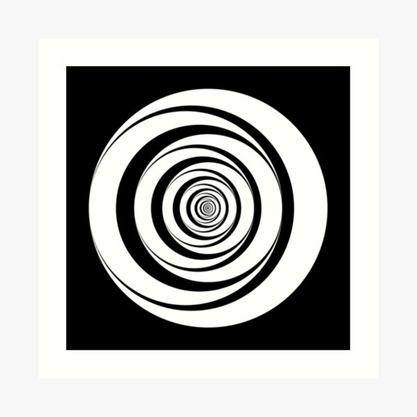 Black White Circles Sixties Optical Illusion Art Print