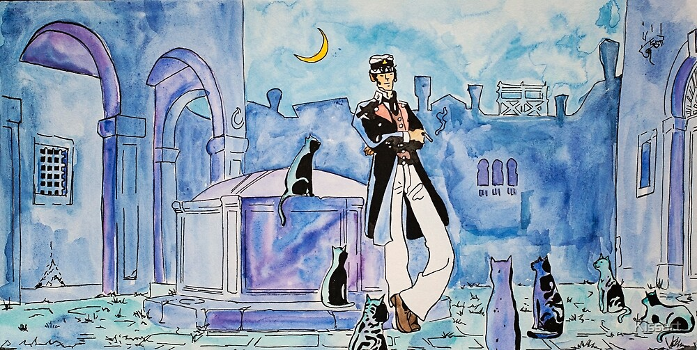 Corto Maltese with cats  by Kissart